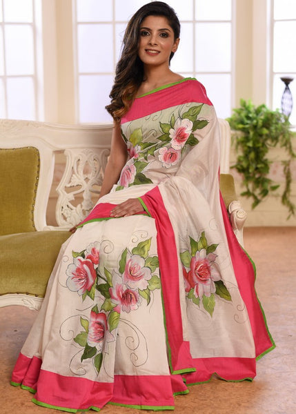 White chanderi saree with hand painted floral motifs