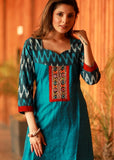 Firozi A-line cotton silk and Ikat combination kurta with Hand made Kutch mirror embroidery