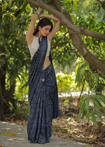 Exclusive Ajrakh block printed pure modal saree