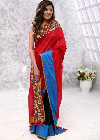 Red chanderi saree with hand painted kalamkari border & chanderi pleats