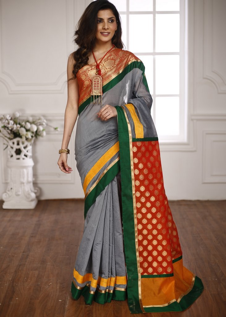 Grey chanderi saree with benarasi border and pallu