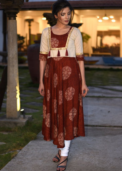 Exclusive printed rayon anarkali with off white handloom cotton combination