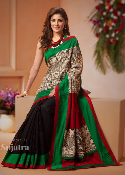 Madhubani printed saree with black chanderi & maroon cotton silk combination - Sujatra