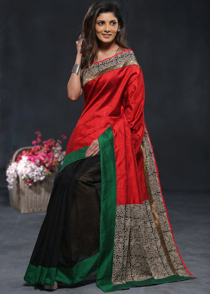 Combination of pure red raw silk with printed pallu and black chanderi pleats - Sujatra