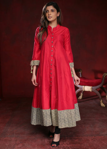 Bright pink  A-line cotton silk kurta with handprinted ajrak border