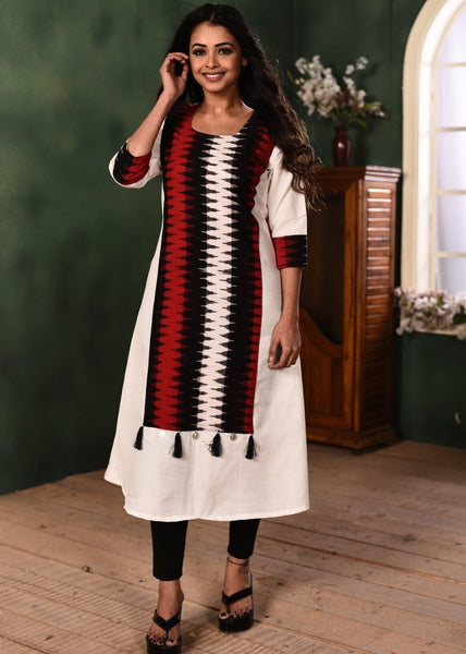 White cotton kurti with ikat combination
