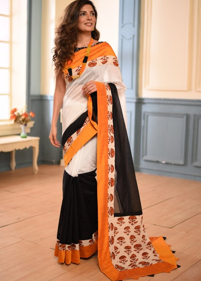 White & black combination Chanderi saree with printed cotton border & pallu - Sujatra