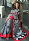Exclusive hand painted tribal gond saree with grey handloom cotton combination