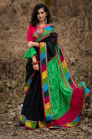 Black chanderi saree with exclusive kutchi border & ikat pallu