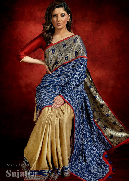 Ikat & benarasi combination saree with golden semi silk pleats