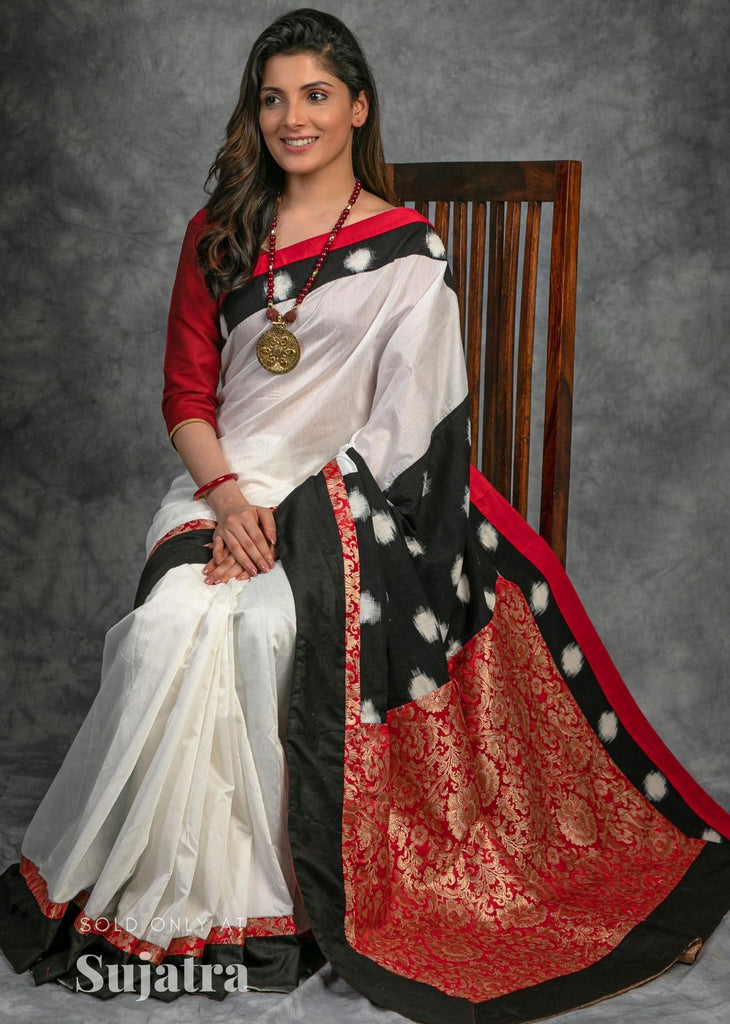 White chanderi saree with ikat and benarasi combination