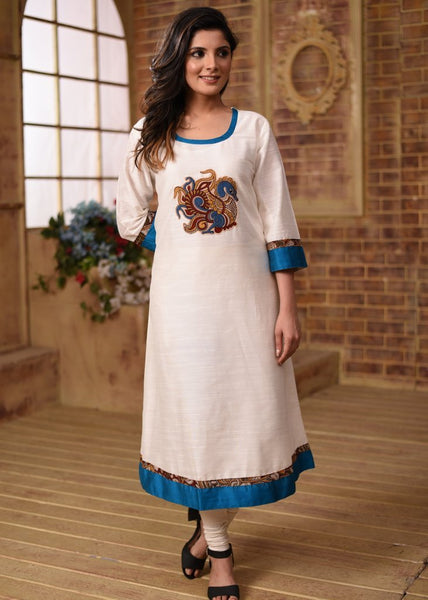 White cotton silk kurti with kalamkari patch work