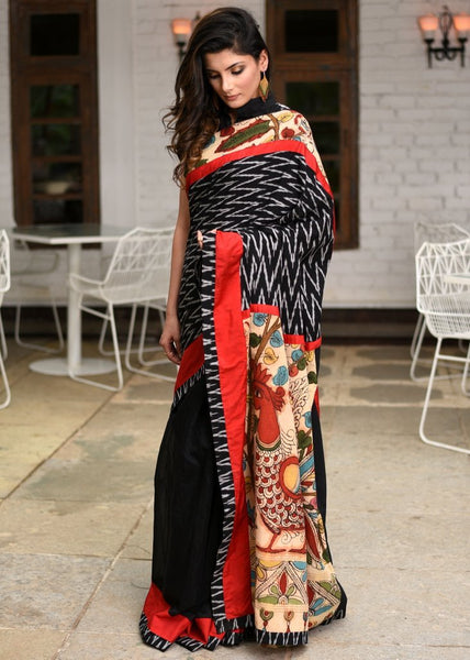 Ikat & hand painted kalamkari pallu combination saree chanderi pleats & ikat bp