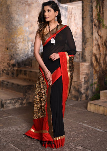 Georgette viscose saree with benarasi pallu and zari border