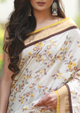 Floral embroidered saree with brown handloom cotton combination - Sujatra