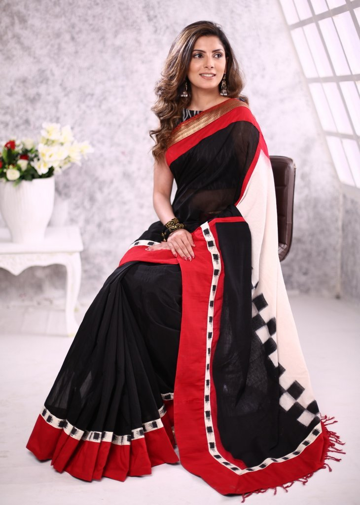 Black chanderi saree with ikat work pallu & zari border
