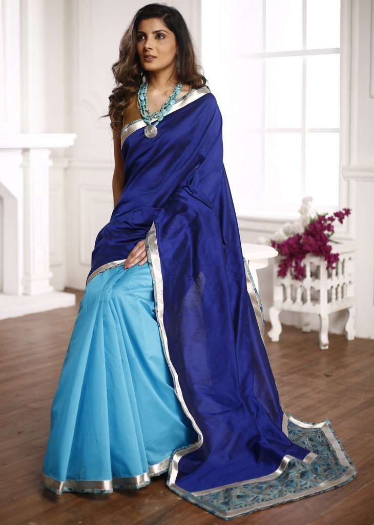 Royal blue cotton silk saree with blue chanderi and zari border - Sujatra