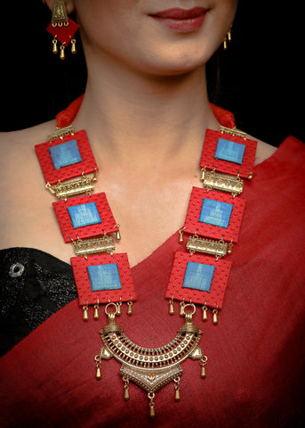 Exclusive Red & Blue  fabric gold oxidised necklace with earrings