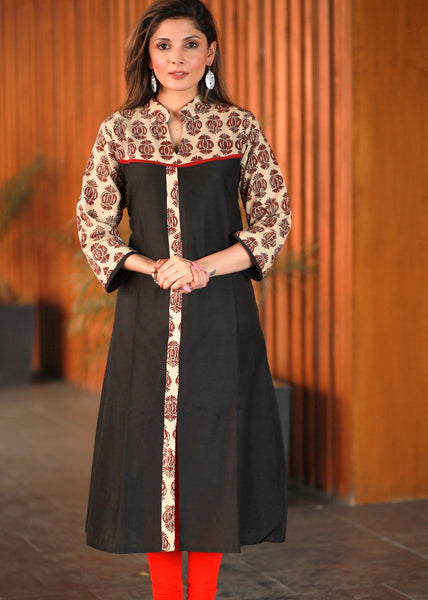 A-line Black cotton silk Kurta with conrasting Ajrakh combination