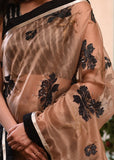 Exclusive organza saree with intricate digital metallic work with ikat combination