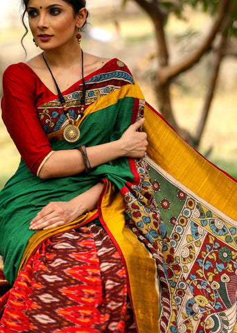 Exclusive handloom cotton saree with ikat pleats and hand painted kalamkari pallu