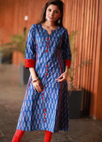 A-line Cotton Ikat kurta with contrasting red cotton silk combination