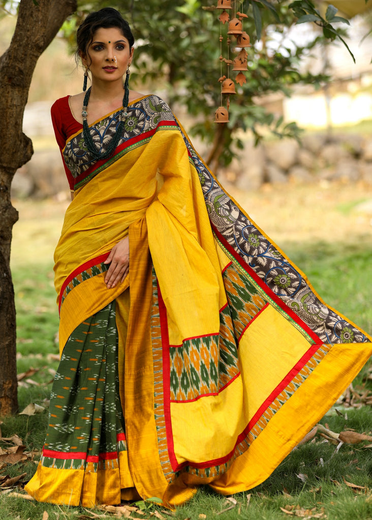 Exclusive saree with mustard handloom cotton and green ikat pleats & kalamkari border