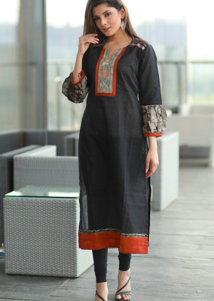 Black Straight cut cotton Handloom kurta with Hand-painted Madhubani  yoke ,Batik  Sleeves and Khun