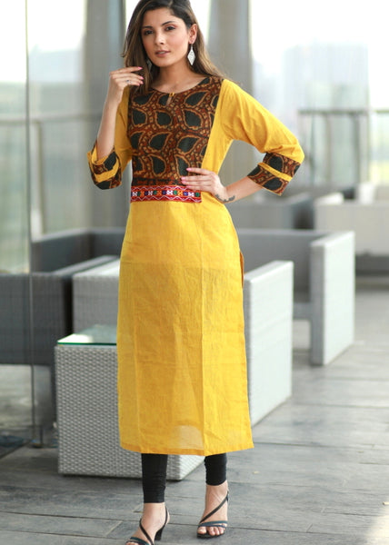 Yellow straight cut cotton handloom Kurta with  Ajrakh and Handmade Kutch mirror work yoke