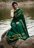 Exclusive forest green  hand painted crepe satin saree