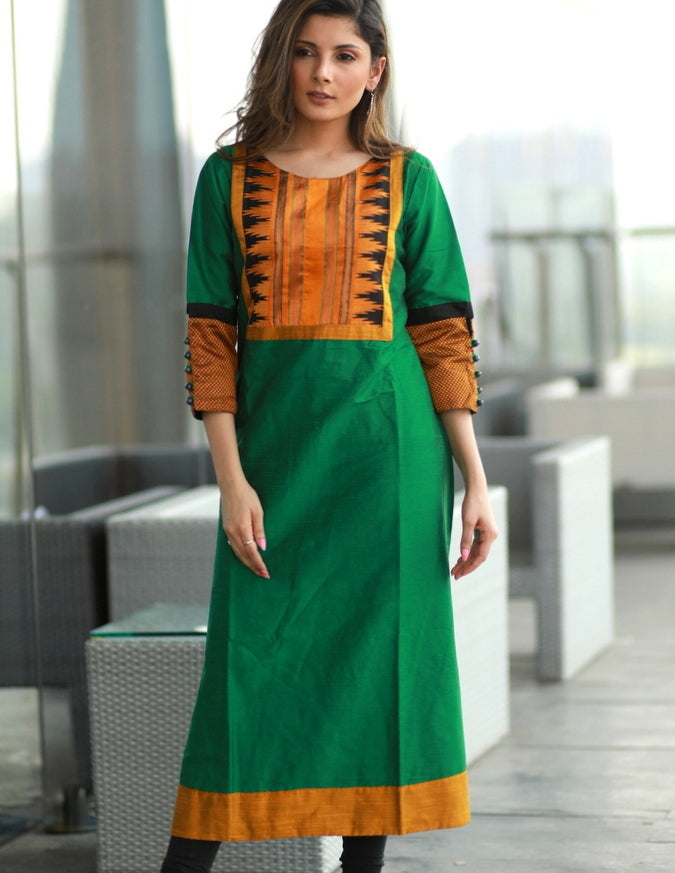Green A-line  Cotton silk kurta with contrasting silk yoke and khun sleeves