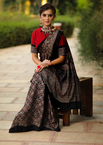 Pure black modal silk Ajrakh block printed designer saree