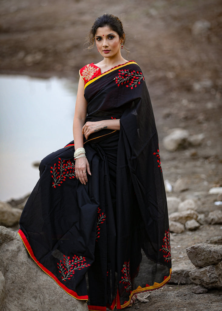 Black chanderi saree with exclusive embroidered motifs