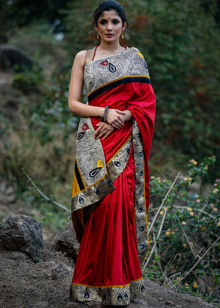 Maroon semi silk saree with hand painted madhubani & benarasi combination borders