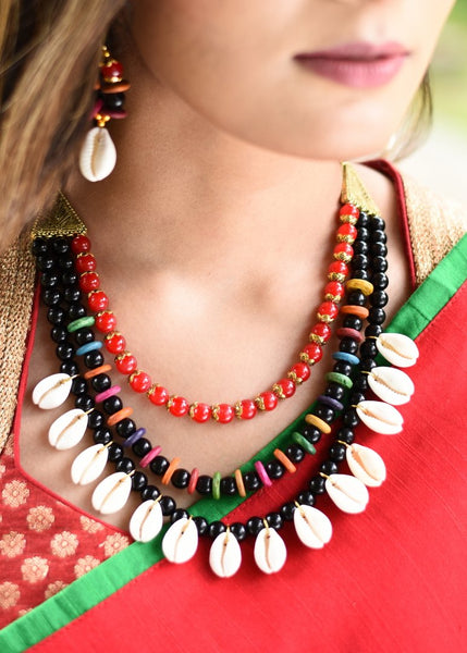 Exclusive cowrie and beads combination three layered necklace set - Sujatra