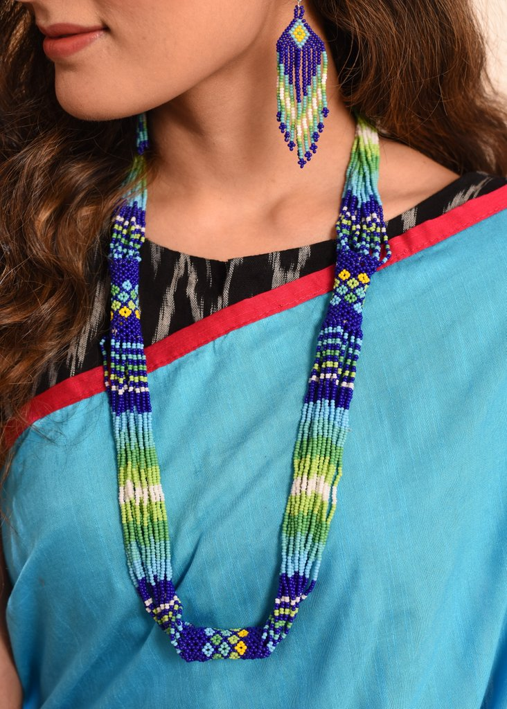 Exclusive blue & green combination seed beed necklace set