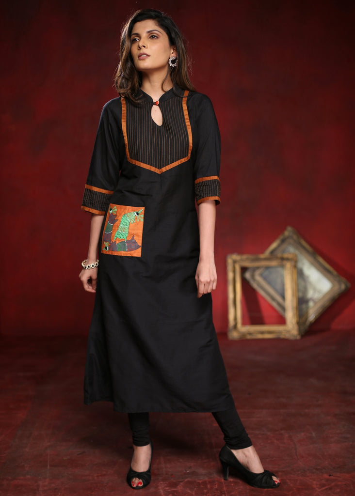 Black A-line cotton silk kurta with Hand Painted Gond Tribal Art pocket - Sujatra