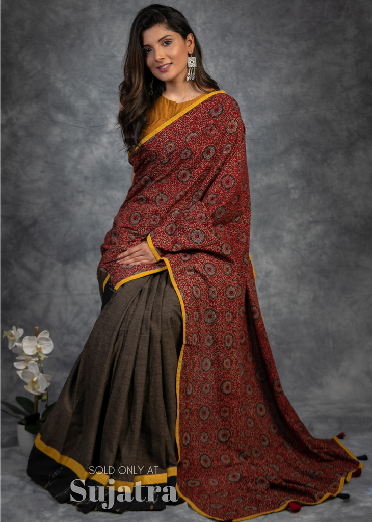 Block printed Ajrakh saree with brown handloom cotton pleats