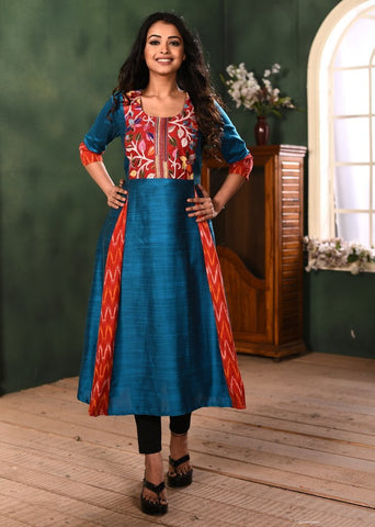 Blue cotton silk kurti with exclusive kantha & ikat combination