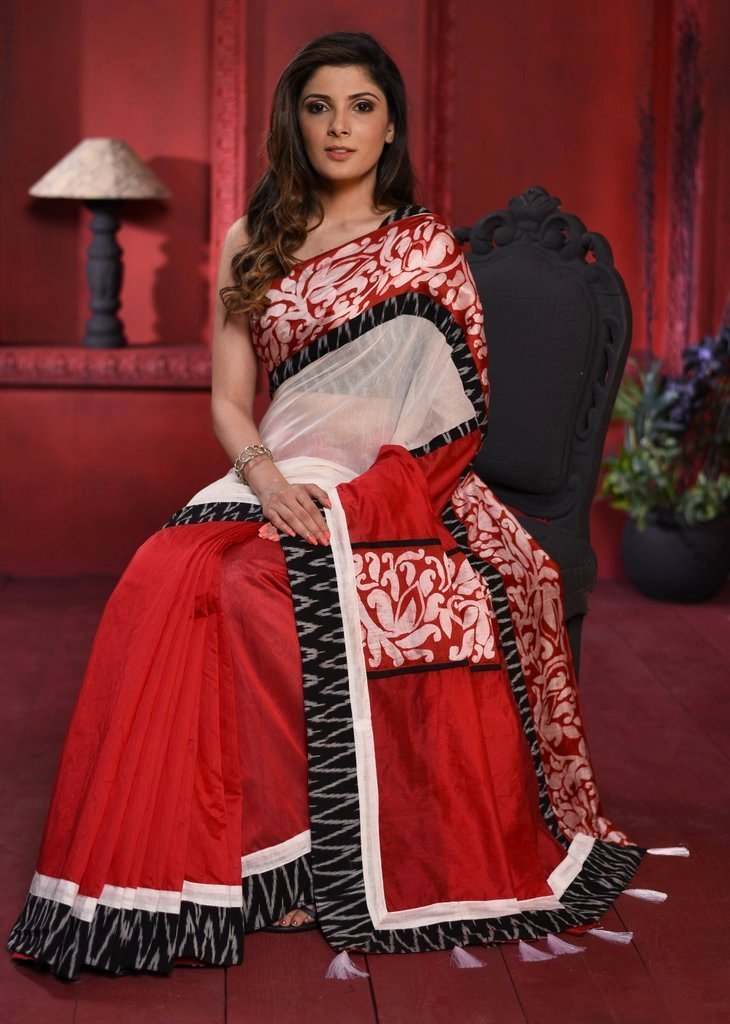 Red & white chanderi combination saree with ikat & hand batik border