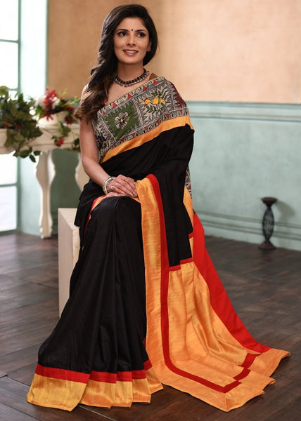 Black semi silk saree with exclusive hand painted madhubani work - Sujatra