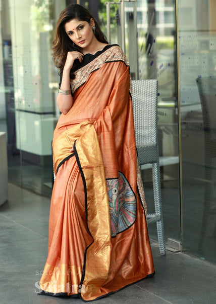 Exclusive pure muga silk saree with hand painted madhubani border & patch on pallu