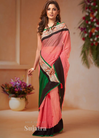 Chequered bengal cotton saree with hand painted madhubani border