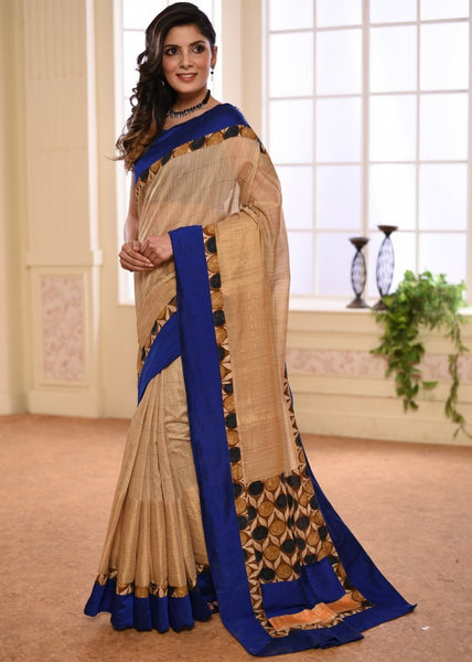 Beige chanderi saree with zari checks & zari border with printed pallu