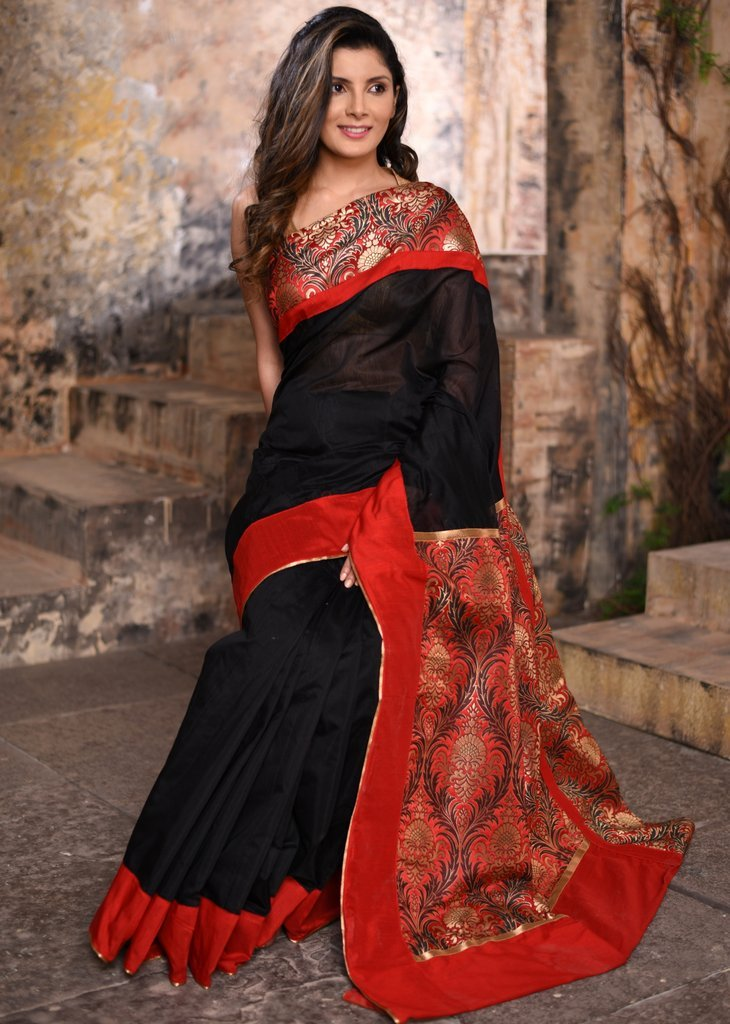 Black Chanderi saree with benarasi brocade border and pallu