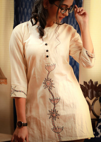 Artisanal gond tribal hand-painted Off-white pure cotton top