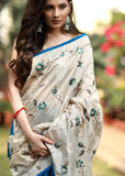 Exclusive embroidered saree with chanderi pleats with zari border - Sujatra
