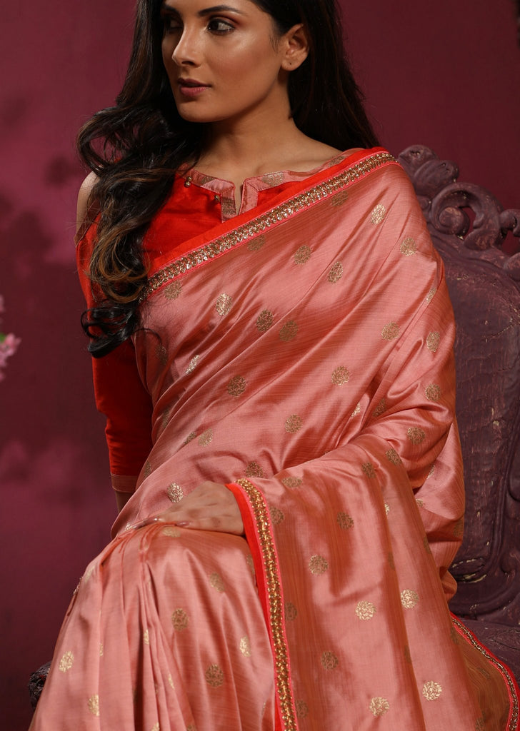 Pink benarasi satin silk saree with all over buta and zari border - Sujatra