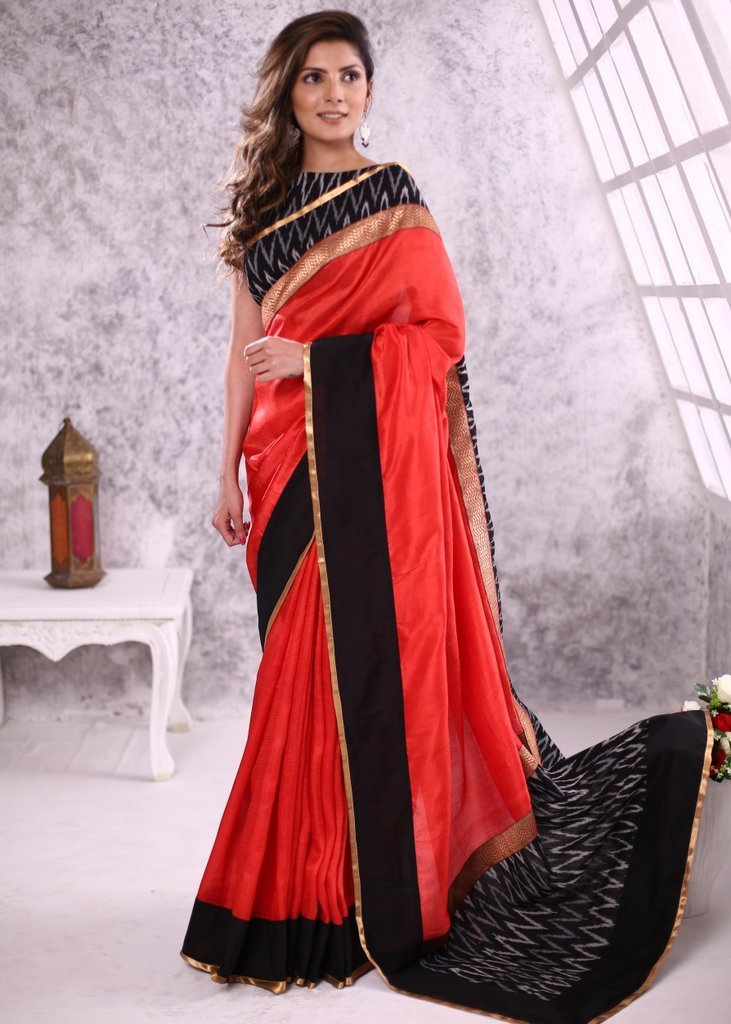 Exclusive light red Pure Silk saree with ikat & zari border & pure silk blouse piece - Sujatra