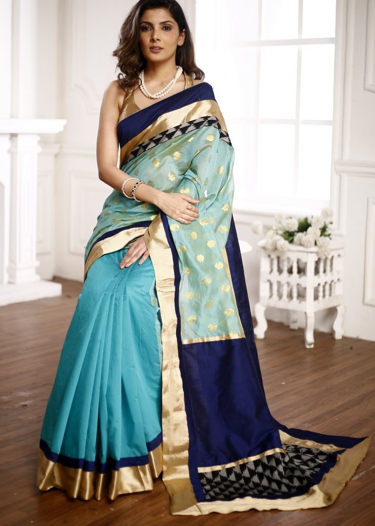 Chanderi saree with benarasi work with zari & ikat border